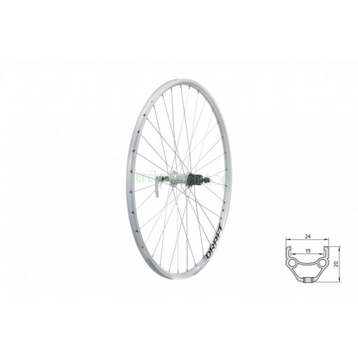 "Fűzött hátsó kerék KLS DRAFT V-brake R 28/29"" silver"