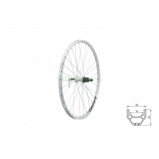 "Fűzött hátsó kerék KLS DRAFT V-brake R 26"" silver"