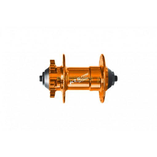 Első agy KLS FIRE WORK 9x100mm 32H tárcsás eloxált narancssár